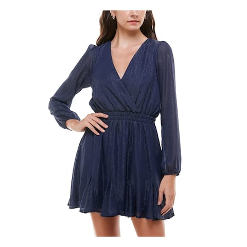 TRIXXI Womens Navy Surplice Neckline Short Evening Dress Size XL
