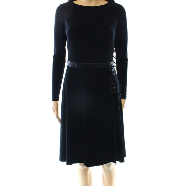 027119cca38 Shop Lauren by Ralph Lauren NEW Black Womens 10 Faux Leather Sheath Dress - Free  Shipping Today - Overstock - 20353378