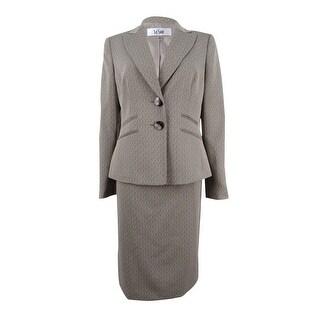 Le Suit Women's Plus Size Melange Two-Button Skirt Suit - taupe multi