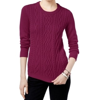 Tommy Hilfiger NEW Purple Women's Small S Cable Knit Crewneck Sweater