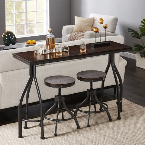 Furniture R Traditional American Mini Wooden Home Bar Set (Set of 3)