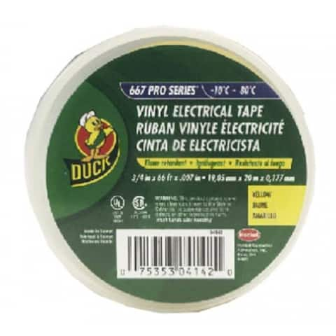 """Duck 04142 Professional Electrical Tape, 3/4"""" x 66', Yellow"""
