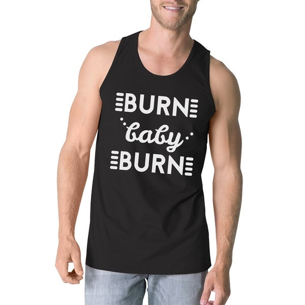 ae8321fc Shop Burn Baby Mens Black Funny Saying Graphic Gym Tank Top Gift For ...