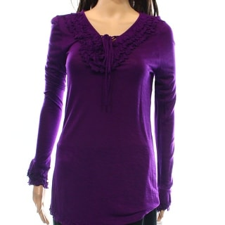 INC NEW Purple Women's Size Small S Ruffled Lace-Up Solid Blouse