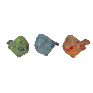 Rustic Blue Orange and Green Ceramic Bird Figurines Set of 3 - 6.5 X 8 X 5.5 inches
