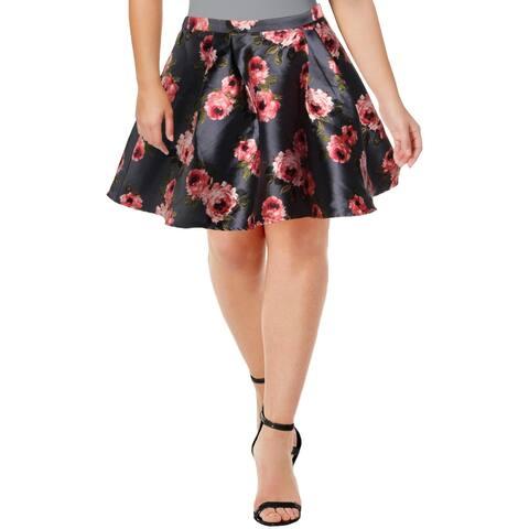 B. Darlin Womens Juniors A-Line Skirt Satin Printed