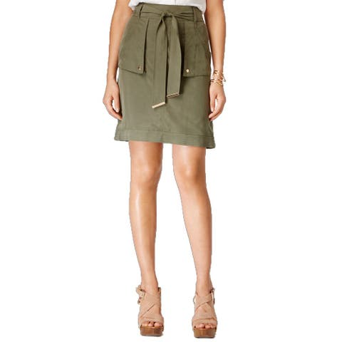 INC International Concepts Petite's Belted Cargo Skirt, (Olive 14P)