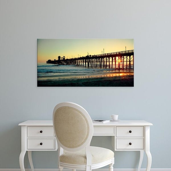 Easy Art Prints Panoramic Image 'Pier in the ocean at sunset, Oceanside, San Diego County, California' Canvas Art