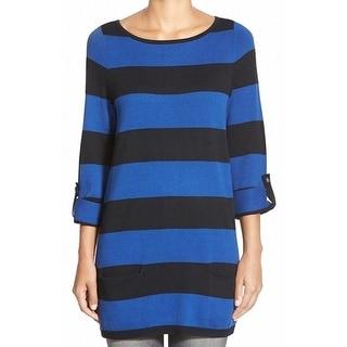 Caslon NEW Blue Black Women's Size Medium M Tunic Striped Roll-Tab Sweater