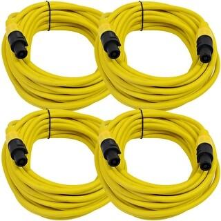 SEISMIC AUDIO 4 Pack of 12 Gauge 25' Yellow Speakon to Speakon Speaker Cables