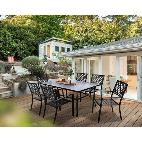PHIVILLA Steel 7-piece Outdoor Patio Dining Sets