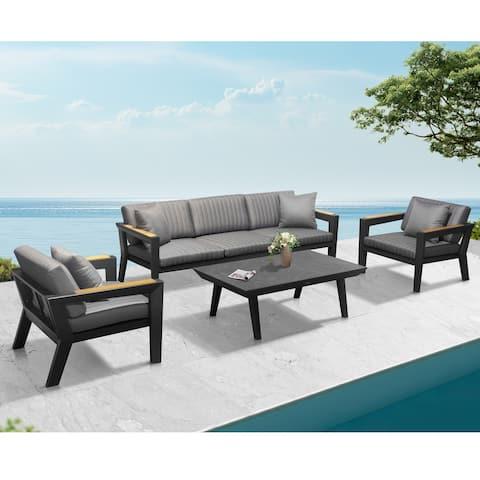 Higold - Champion Patio Furniture, 4 Pieces Modern Conversation Set with Matte Charcoal Aluminum Frame Finish