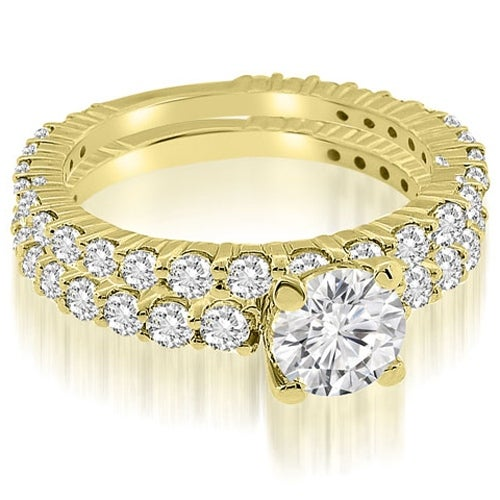 2.05 cttw. 14K Yellow Gold Round Cut Diamond Bridal Set