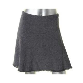 Theory Womens Lotamee M Mini Skirt Frayed Hem Stretch