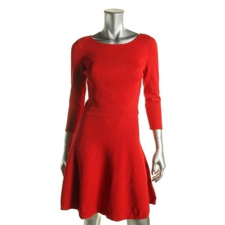 Lauren Ralph Lauren Womens Petites Sweaterdress 3/4 Sleeves Ribbed Knit