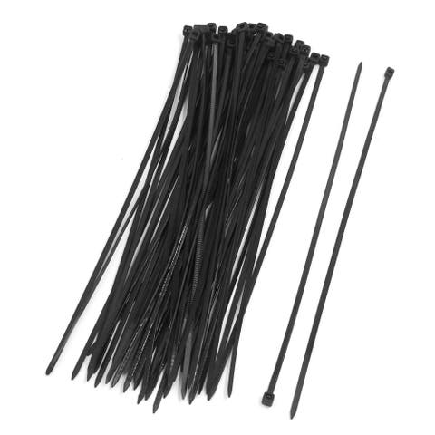 50pcs 3 x 200mm Nylon Plastic Self Lock Network Cable Tie Zip Fasten Wire Black