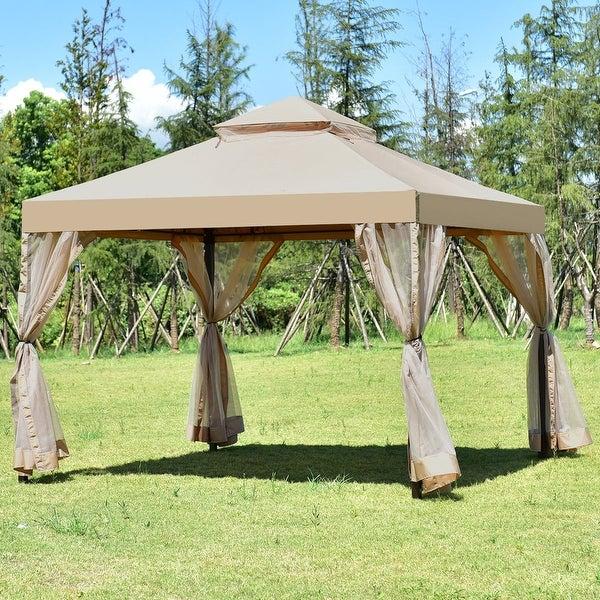 Costway Outdoor 2-Tier 10u0026#x27;x10u0026#x27; Gazebo Canopy Shelter & Costway Outdoor 2-Tier 10u0027x10u0027 Gazebo Canopy Shelter Awning Tent ...