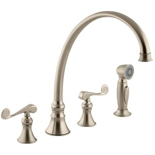 Kohler K-16111-4 Double Handle Kitchen Faucet with Metal Scroll Lever Handles and Sidespray from the Revival Series