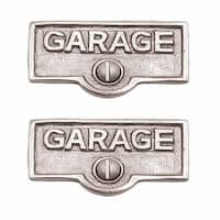2 Switch Plate Tags GARAGE Name Signs Labels Chrome Brass | Renovator's Supply