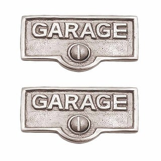2 Switch Plate Tags GARAGE Name Signs Labels Chrome Brass Renovator's Supply