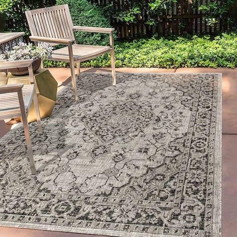 JONATHAN Y Rozetta Boho Medallion Textured Weave Indoor/Outdoor Area Rug