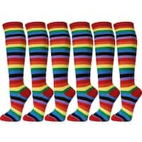 Women Colorful Rainbow Stripes Leg Warmer Soft Tube Knee High Socks(6 pairs)