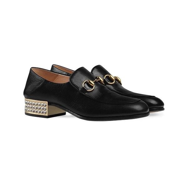 Horsebit Crystal Leather Loafers Black
