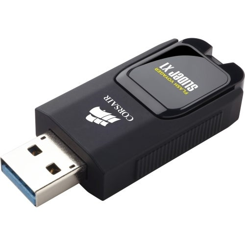"""Corsair CMFSL3X1-256GB Corsair Flash Voyager Slider X1 USB 3.0 256GB USB Drive - 256 GBUSB 3.0 - Black - Retractable, LED"