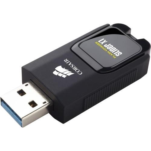 """Corsair CMFSL3X1-32GB Corsair Flash Voyager Slider X1 USB 3.0 32GB USB Drive - 32 GBUSB 3.0 - Black - Retractable, LED Light,"