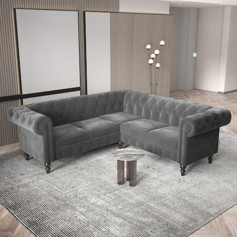 Deep Button Tufted Velvet Upholstered Rolled Arm Classic Chesterfield L Shaped Sectional Sofa