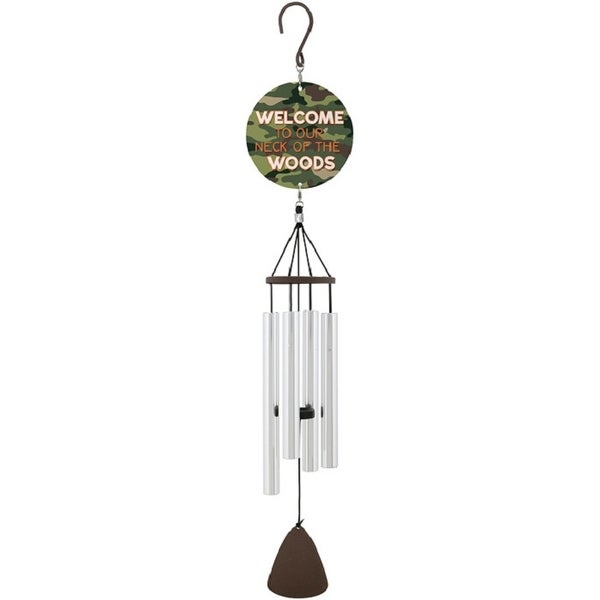 """27"""" Silver and Green Welcome Wind Chime with Header - N/A"""