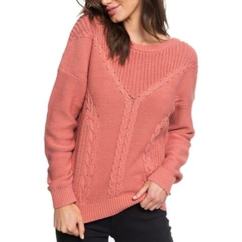 Roxy Womens Dark Pink Size XS Ribbed-Knit V-Back Crewneck Sweater