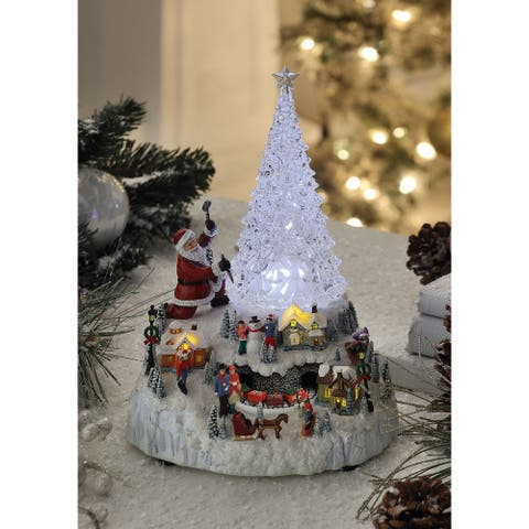 """Set of 2 Clear and White Tree Ice Sculpture Tabletop Decor 11.25"""""""