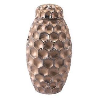 Hammered Covered Jar Bronze
