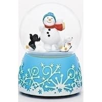 "Set of 2 Musical Having Fun Snowman with Animal Glitter Dome 6"" - White"