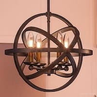 "Luxury Vintage Chandelier, 14.25""H x 15""W, with Transitional Style, Sphere Design, Estate Bronze Finish"