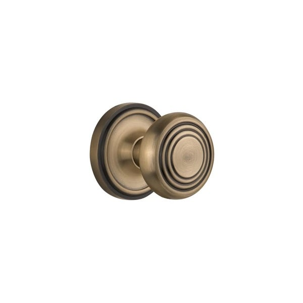 """Nostalgic Warehouse CLADEC_PRV_238_NK Deco Solid Brass Privacy Knob Set with Classic Rose and 2-3/8"""" Backset"""