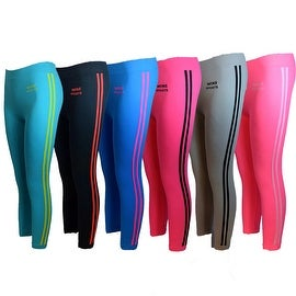 Women's 6 Pack Seamless Double Stripes Athletic Sports Yoga Full-LengthLeggings