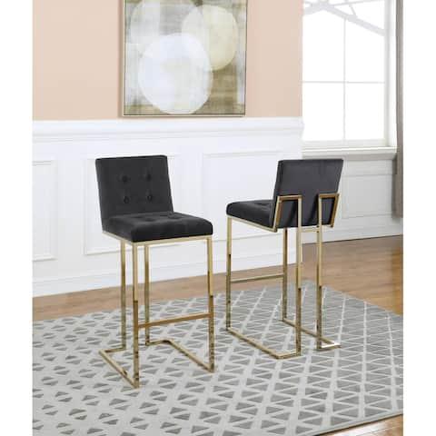 Best Quality Furniture 30-inch Velvet Tufted w/Chrome Gold Barstools