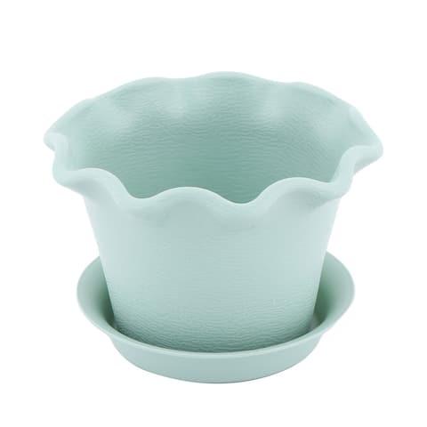 "Home Windowsill Plastic Petal Design Aloes Plant Flower Pot Container - Turquoise - 5.5"" x 3.8""(Max.D*H)"