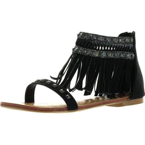 Not Rated Women's Python Gladiator Fringe Sandals - Cream - 6.5 b(m) us