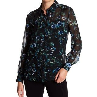Haute Hippie Black Women's Medium M Floral Button Down Shirt Silk
