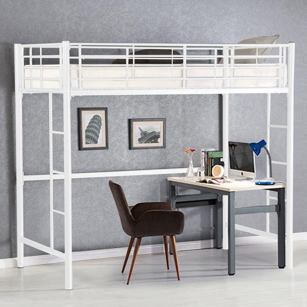 Shop Gymax Twin Loft Bed Metal Bunk Ladder Beds Boys Girls Teens