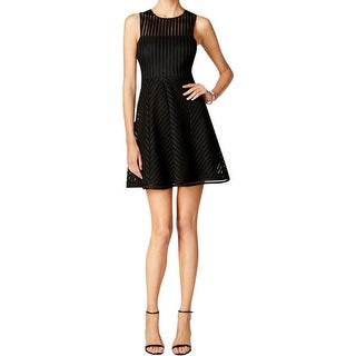 Guess Womens Party Dress Illusion Stripe Sleeveless