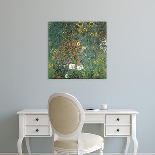 Easy Art Prints Gustav Klimt's 'Farm Garden with Sunflowers' Premium Canvas Art