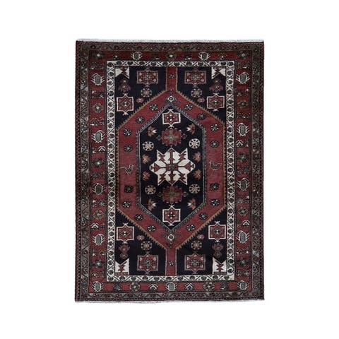 """Hand Knotted Brown Persian with Wool Oriental Rug (4'7"""" x 7') - 4'7"""" x 7'"""