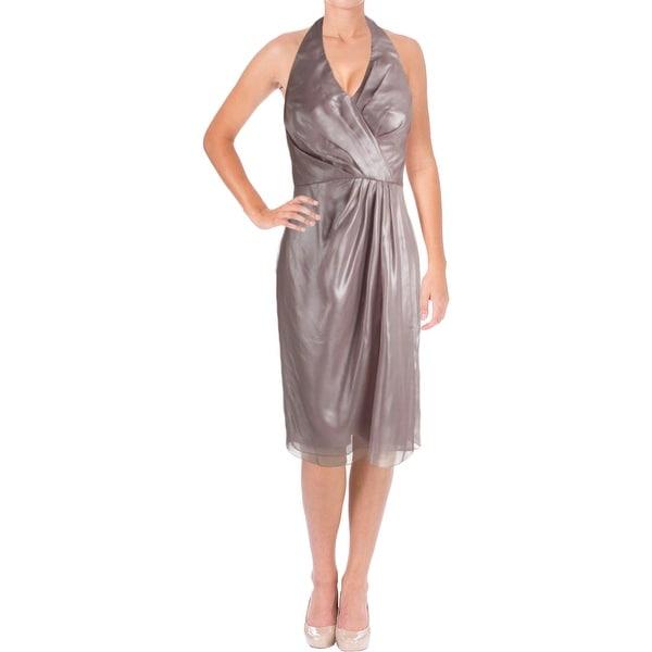 Vera Wang Womens Cocktail Dress Metallic Halter