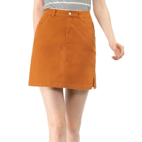 Unique Bargains Women Zip Fly Slit Sides Above Knee Straight Skirt