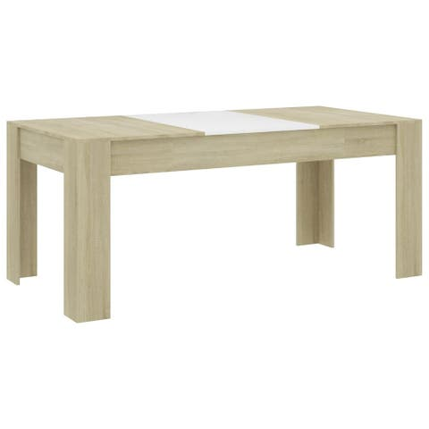 """vidaXL Dining Table White and Sonoma Oak 70.9""""x35.4""""x29.9"""" Chipboard"""