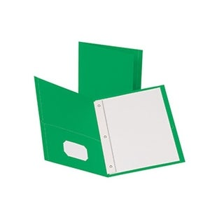 Oxford 25Ct Green Twin Pocket Folders With Fasteners